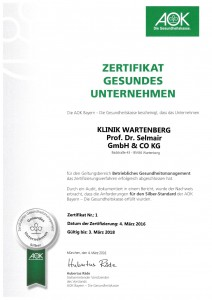 Zertifikat Gesundes Unternehmen AOK_2016
